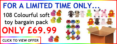 Colourful soft toy pack banner