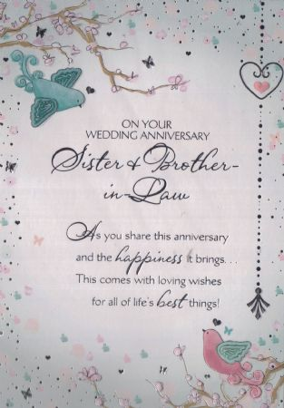 Wedding Anniversary Gift For Brother And Sister In Law : Sister and brother in law wedding anniversary cards from Andersons ...