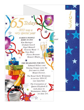 Simon Elvin Special Year Birthday Cards Age 65