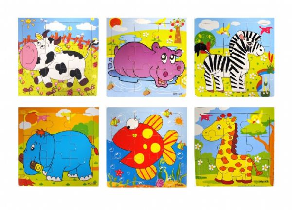 24 assorted wooden jigsaw puzzles