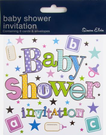 6 Packs of 6 Simon Elvin baby shower invitation cards with envelopes