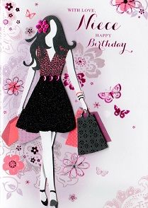 isabels garden hand embellished birthday cards niece from, Birthday card