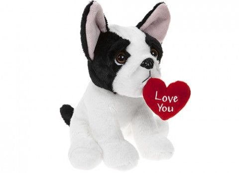 Single 20cm cuddly bulldog with 'love you' heart