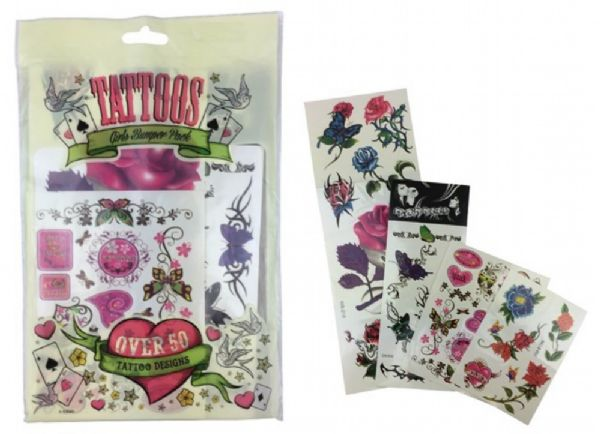 Pack Of 50 Girls Temporary Tattoos