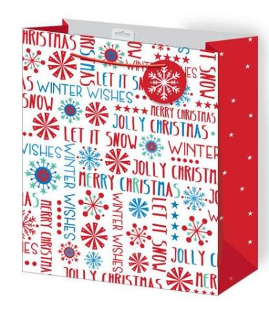 12 large contemporary foiled design christmas gift bags