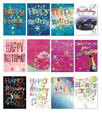 72 Mixed Open Birthday Cards