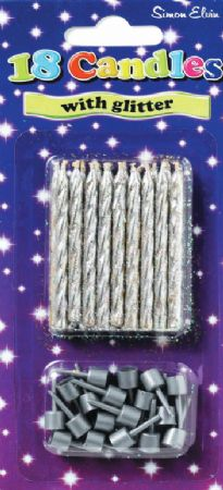 Box Of 6 Packs 18 Simon Elvin Silver Candles
