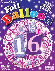 Pack Of 6 Simon Elvin Foil Balloons 16th Birthday