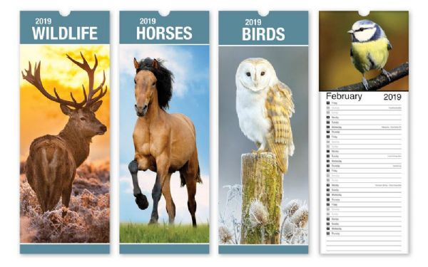 Month to view slim 2019 calendars wildlife, horses and birds